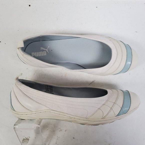 Puma White and Blue Ballet Flats Sports Size 8.5